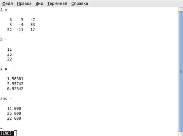 Окно терминала после запуска программы prim1_1