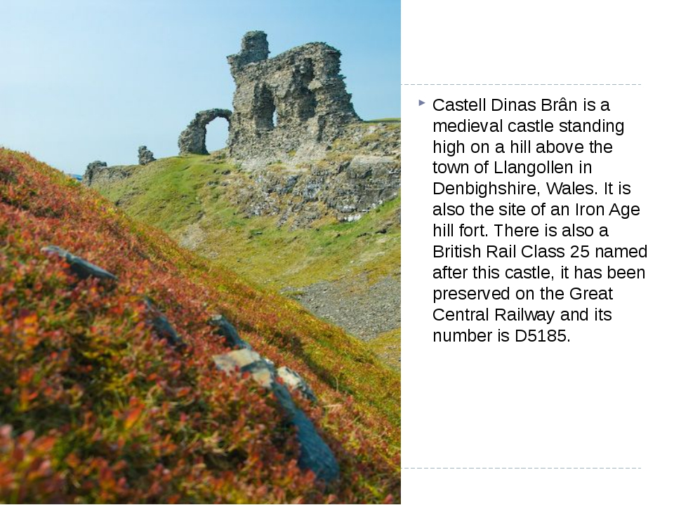 Castell Dinas Brân is a medieval castle standing high on a hill above the to...