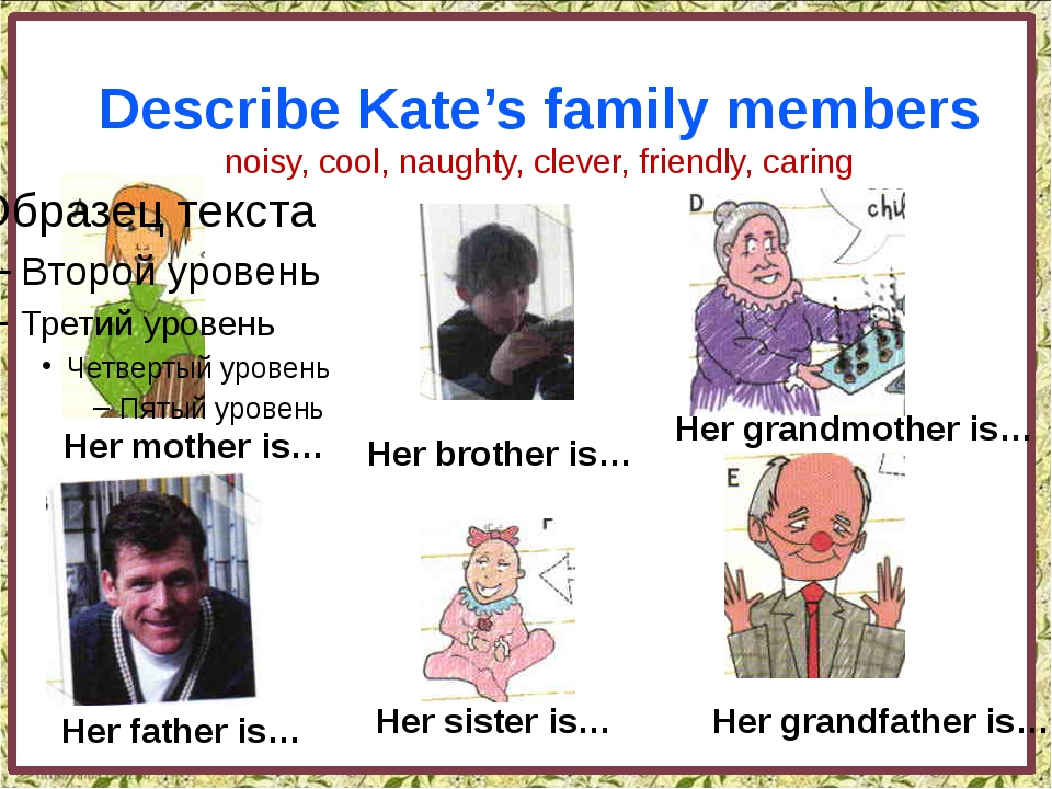 Describe Kate's family members noisy, cool, naughty, clever, friendly, carin...