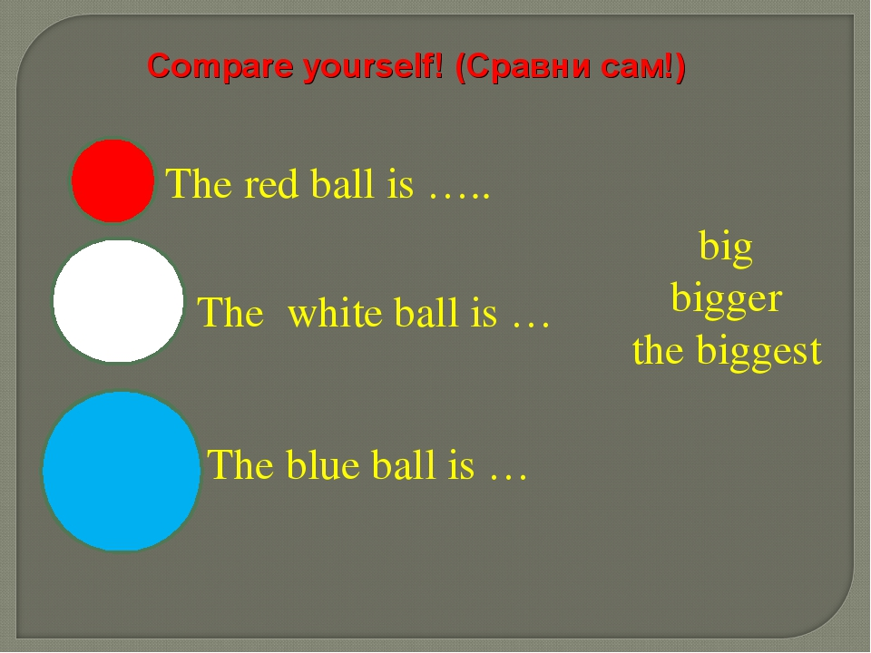 big bigger the biggest The red ball is ….. The white ball is … The blue ball...