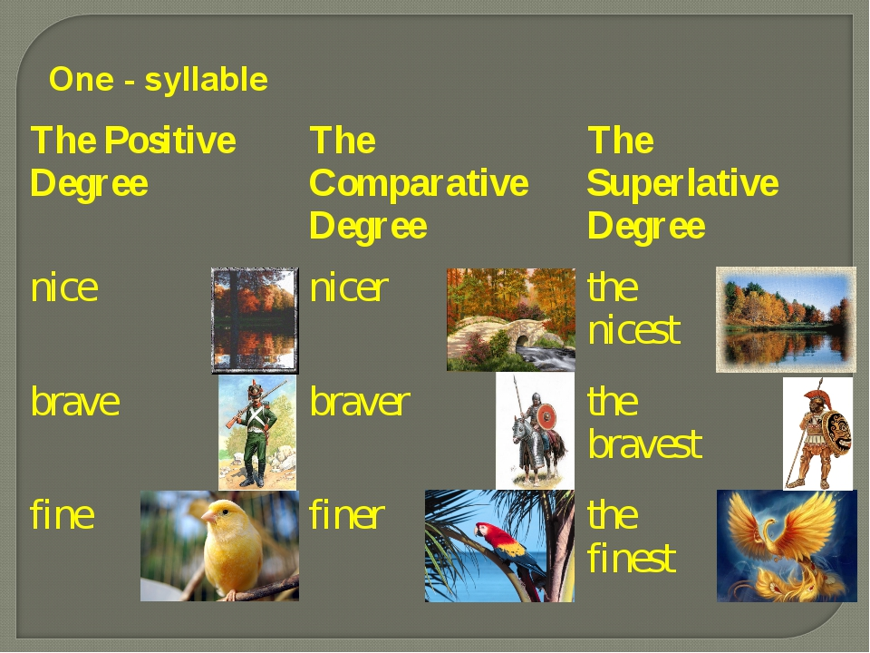 One - syllable The Positive Degree	The Comparative Degree	The Superlative Deg...