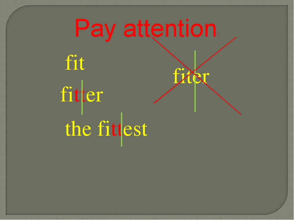 fitter fiter the fittest fit Pay attention: