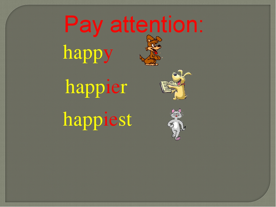 happy happier happiest Pay attention: