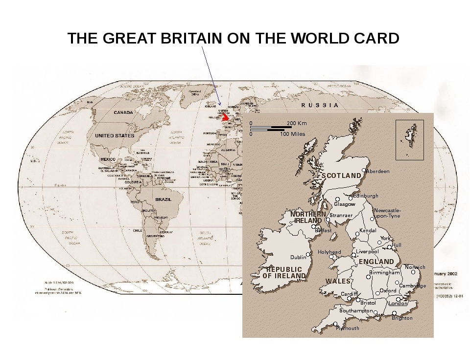 THE GREAT BRITAIN ON THE WORLD CARD