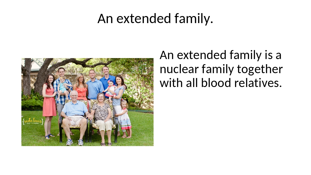 An extended family. An extended family is a nuclear family together with all...