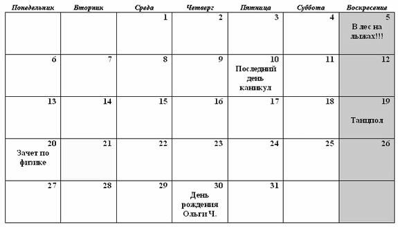 таблица образец ворд