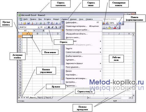 Конспект урока на тему Табличный процессор microsoft excel  Окно программы ms excel