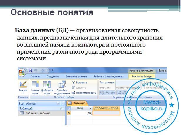 Презентация этапы разработки базы
