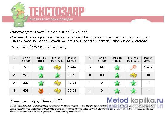 Отчет Текстозавра